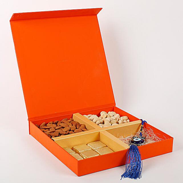 Evil Eye Wall Hanging & Dry Fruits Box Orange: Diwali Gift Hampers