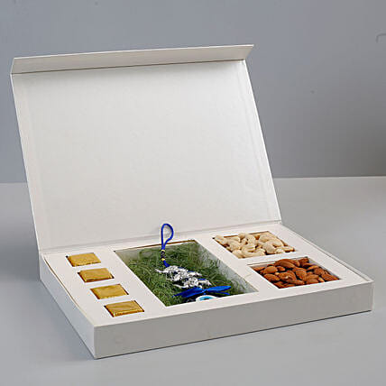 Evil Eye Wall Hanging & Dry Fruits Box White: Diwali Gifts for Her