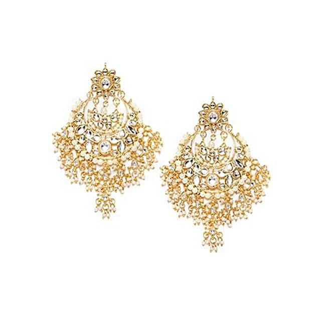 Fancy Kundan Gold Color Earrings: Send Jewellery Gifts