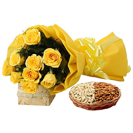 Feeling Of Gaiety: Flower & Dryfruits for Fathers Day