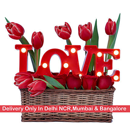Floral Love Basket -Delhi NCR, Mumbai & Bangalore Only: Tulips
