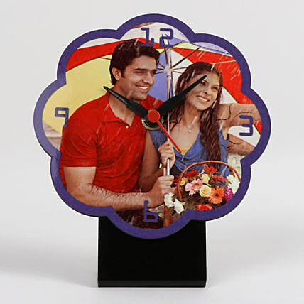 Flower Shaped Personalized Table Clock: Wedding Gifts