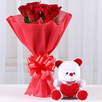 Red Roses Bouquet & Teddy Bear Combo: Flowers & Teddy Bears - Karwa Chauth