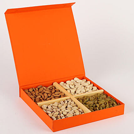 FNP Special Dry Fruits in Orange Box: Dry Fruits for Karwa Chauth India