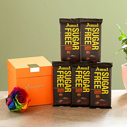 Forever Rainbow Rose & Sugar Free Amul Chocolates: Red Flowers