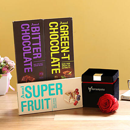 Forever Red Rose & Special Amul Chocolates: Combo Gifts