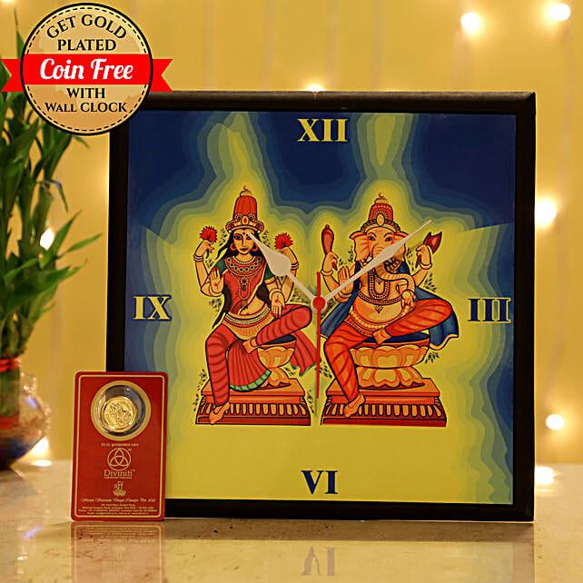 Free Gold Plated Coin With Laxmi Ganesha Wall Clock: Gift Combos