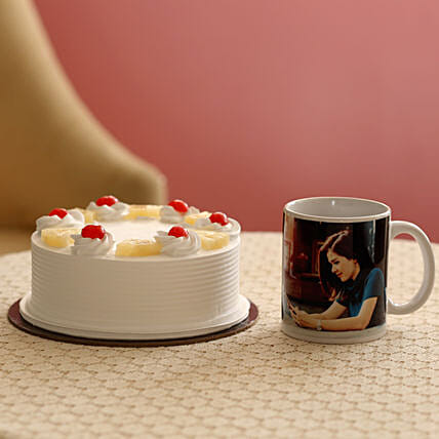 Fresh Pineapple Cake & Personalised Mug Combo: