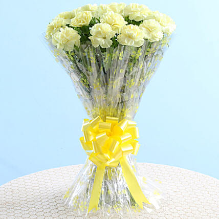 Glee Of Sunshine Yellow Carnations: