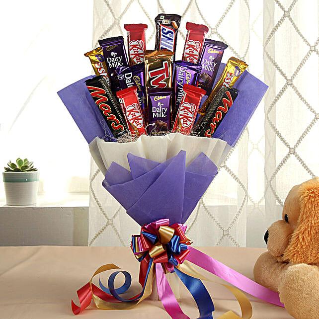 Glistening Choco Bouquet: Chocolates for birthday