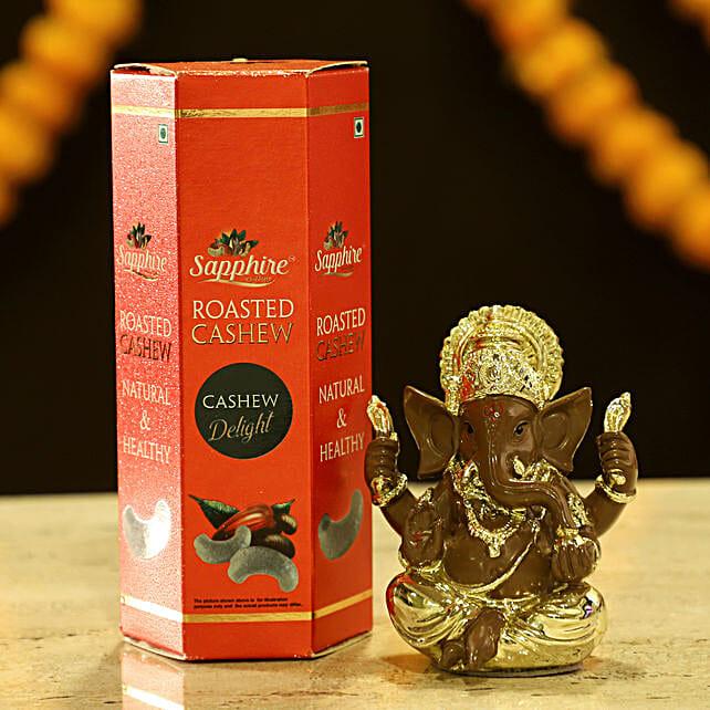 Gold Plated Ganesha & Cashews: Dry Fruits