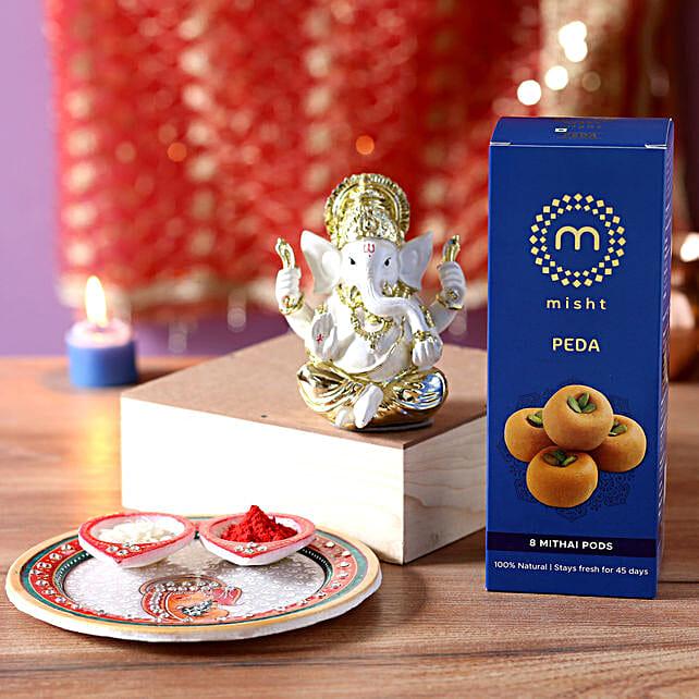 Gold Plated Ganesha Idol Pooja Hamper: Send Pooja Thali - Ganesh Chaturthi