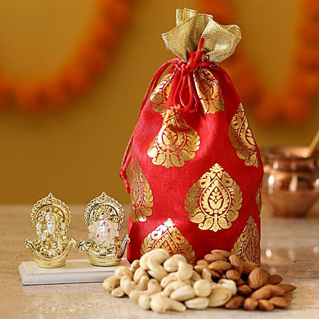 Gold Plated Laxmi Ganesha Idol & Dry Fruits: Laxmi Ganesh Gifts