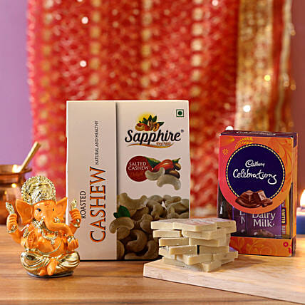 Gold Plated Lord Ganesha Celebrations Combo: Dry Fruits