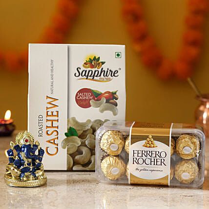 Gold Plated Lord Ganesha Idol & Delights: Ferrero Rocher Chocolates
