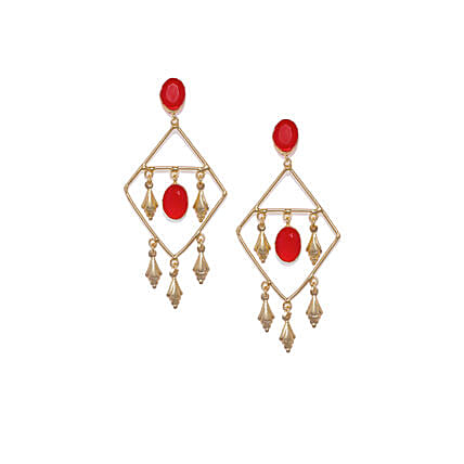 Gold Plated Red Drop Earrings: Send Jewellery Gifts