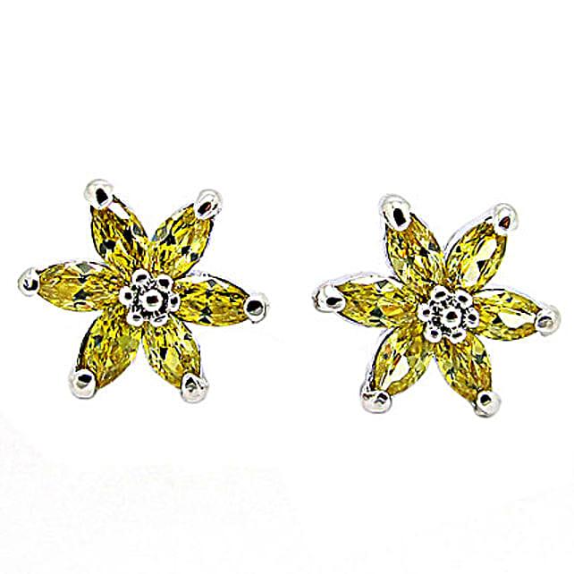 Golden Peacock Yellow Earrings: Jewellery Gifts