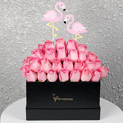 Graceful Pink Roses In A Box Birthday Gifts For Mother