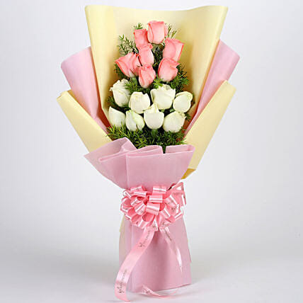 Graceful Pink & White Roses Bouquet: Roses