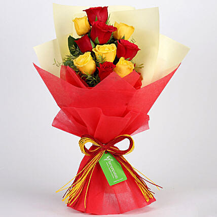 Graceful Red & Yellow Roses Bouquet: