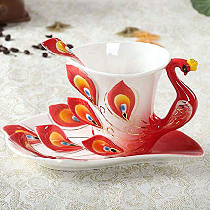Hand Painted Peacock Tea Cup Set: Funny Gifts