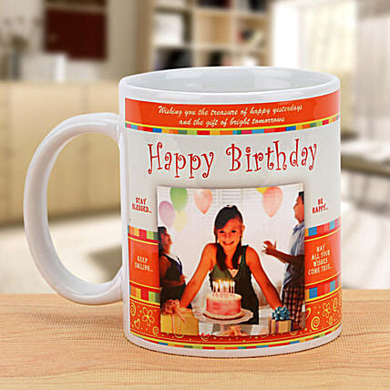 Happy Birthday Celebration Mug: Custom Photo Coffee Mugs