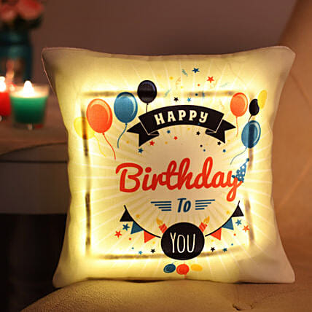 Happy Birthday LED Cushion: Personalised Cushions