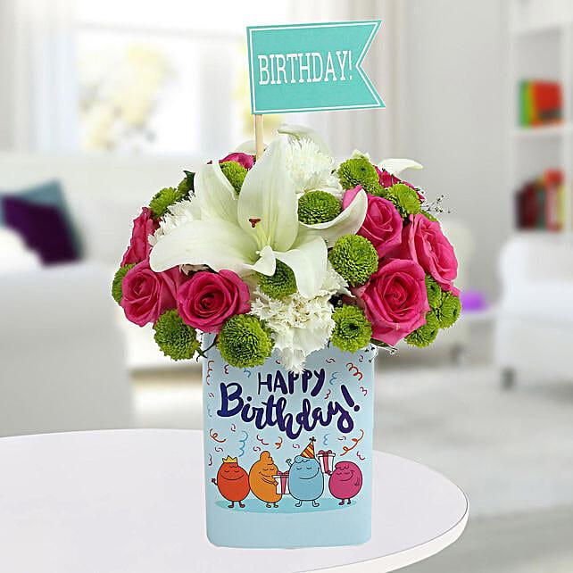 Happy Birthday Mixed Flowers Arrangement: