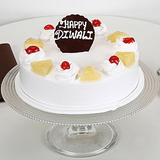 Happy Diwali Pineapple Cake: Send Diwali Gifts for Her