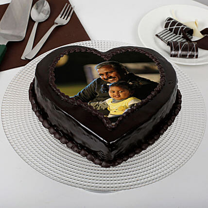 Heart Shaped Chocolate Truffle Photo Cake for Dad: Fathers Day Photo Cakes