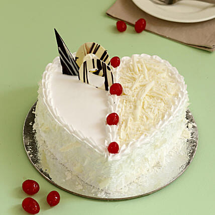 Heart Shaped White Forest Cake: White Forest Cakes