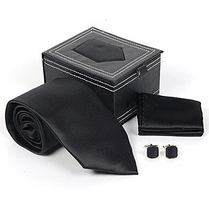 Jet Black Tie Set: Ties and Cufflinks