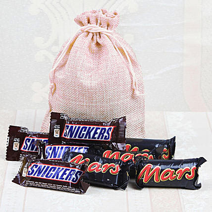 Jute Potli Of Snickers & Mars: Chocolates Shopping India