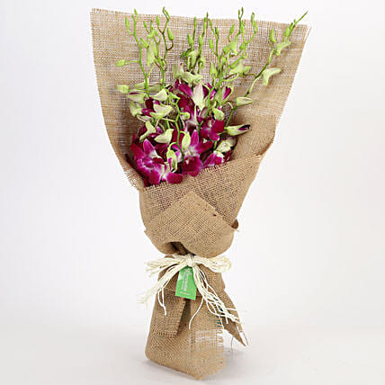 Jute Wrapped 6 Purple Orchids Bunch: Send Orchids