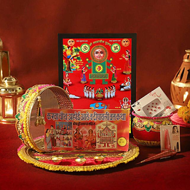 Karwa Chauth Special Zardosi Red Thali Set: Karwa Chauth Gifts for Bahu