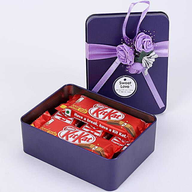 Kit-Kat in Purple Tin Box: Chocolate Gifts in India