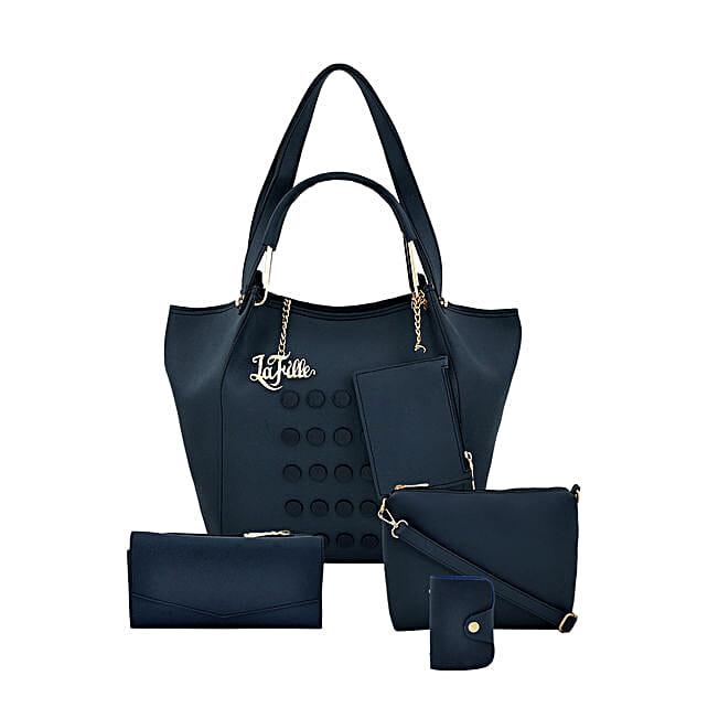 LaFille Casual Blue Handbag Set: Buy Handbags