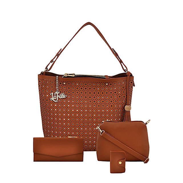 LaFille Designer Tan Handbag Set: Buy Handbags