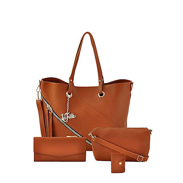 LaFille Swanky Brown Handbag Set: Buy Handbags