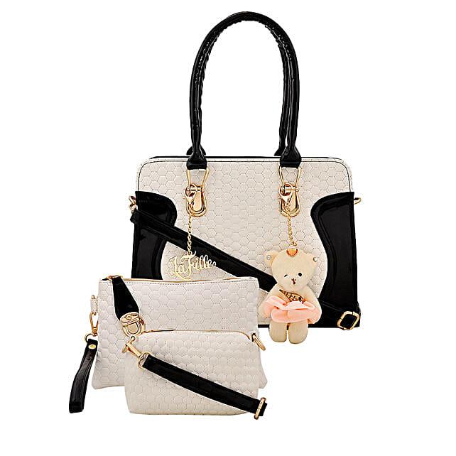 LaFille Teddy Keychain Handbag Set- Black & White: Buy Handbags