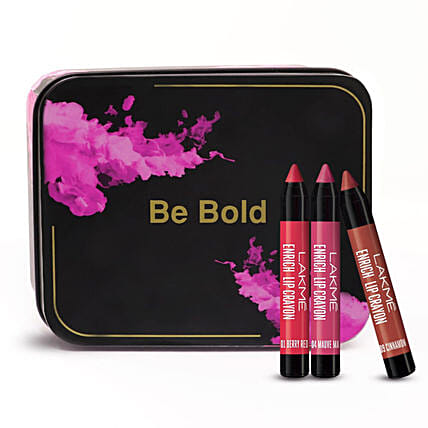 Lakme Be Bold Enrich Lip Crayons Set: Cosmetics & Spa Hampers