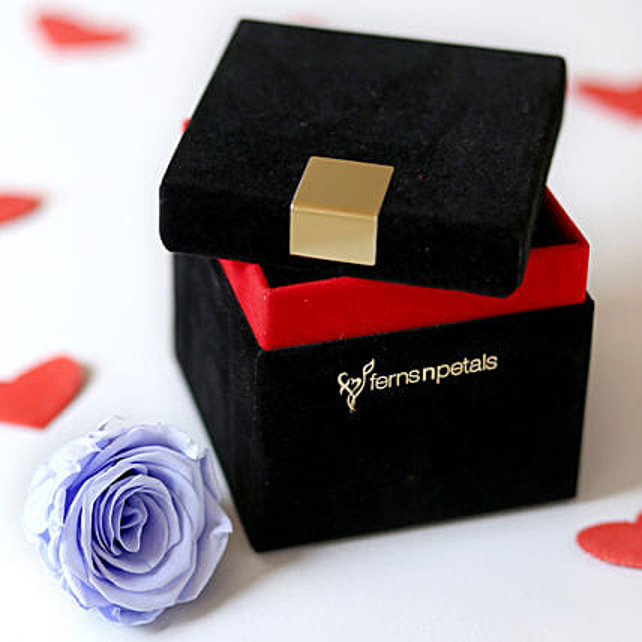 Lavender Blue Forever Rose In Velvet Box: Send Roses