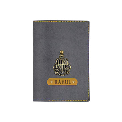 Leather Finish Passport Cover Grey: