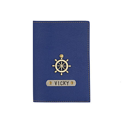 Leather Finish Passport Cover Navy Blue: Personalised Accessories