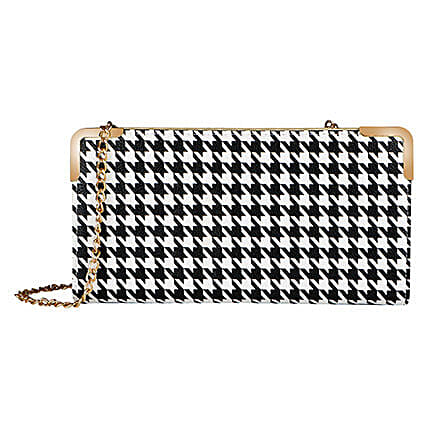 Lino Perros Black N White Women Clutch: Fashion Accessories