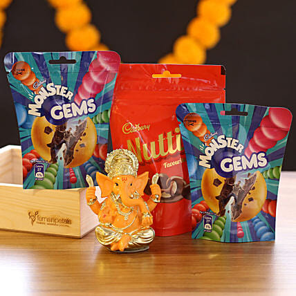 Lord Ganesha Idol & Choco Candies: Cadbury Chocolates