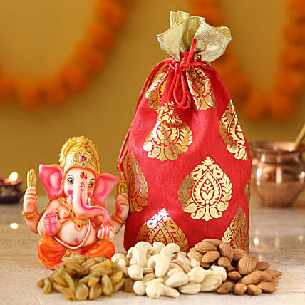 Lord Ganesha Idol & Dry Fruits: Send Diwali Gifts for Parents