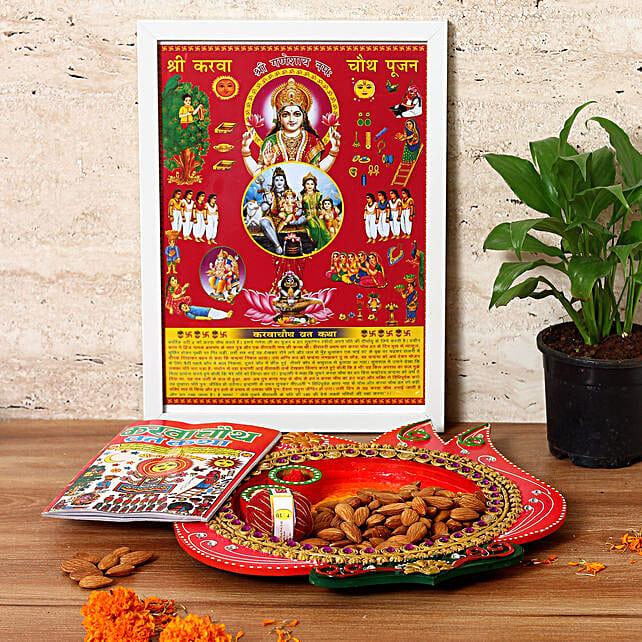 Lotus Shaped Wooden Tray & Almonds Combo: Send Karwa Chauth Sargi