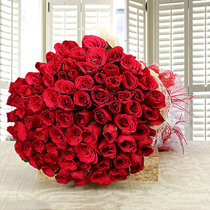 Enchanting Love- Classy 75 Red Roses Bunch: Premium Flowers