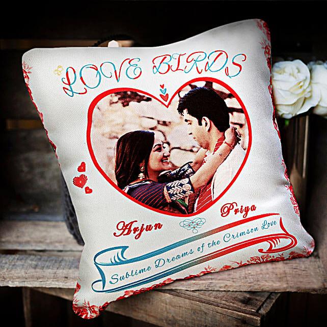 Love Birds Personalized Cushion: Cushions